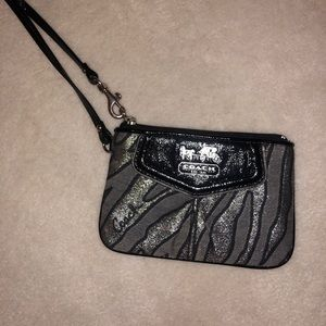 Coach dark zebra print wallet